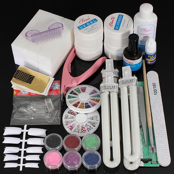 36W UV Gel Lampa Nagelkonst Manikyr Tippar Härdning Set Kit