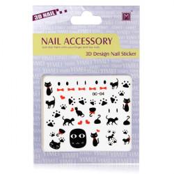 3D Svar Katt Nail Dekal Klistermärke Nagelkonst Dekoration