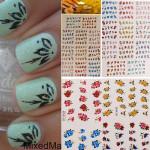 3D Färgglada Glitter Fjäril Blomster Nagelkonst Stickers Vattendekaler Naglar