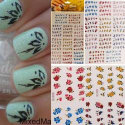 3D Farverige Glitter Sommerfugl Blomst Nail Art Stickers Vand Transfer