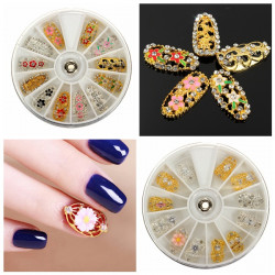 3D Crystal Rhinestone Alloy Hollow Blomst Nail Art Dekoration Hjul