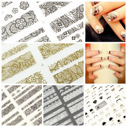 3D Design Sort Guld Lace Overskæg Blomster Nail Art Stickers