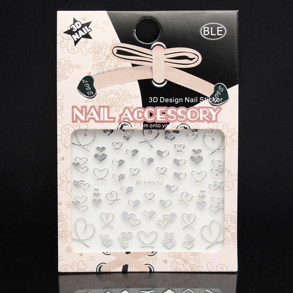 3D Design Silberne Herz Nagel Kunst Aufkleber Abziehbild Nageldesign