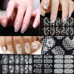 3D Flower Lace DIY Decoration Nail Art Foils Stickers Tips Wraps Decal