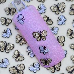 3D Glitter Sommerfugl Nail Art Sticker Decals Negle Tipper Dekoration