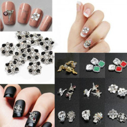 3D Glitter Fox Square Skull Rhinestone Metal Nail Art Stickers