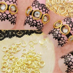 3D Gold Plated Nail Art Metal Circle Rings DIY Decoration