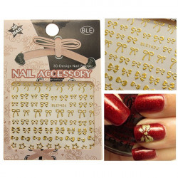 3D Golden Bowknot Star Nail Art Stickers Decals