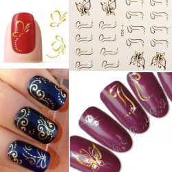 3D Golden Butterfly Bow Nail Art Stickers Line Dot Nail Deco