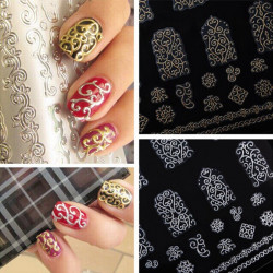 3D Hollow Out Guld Silver Blomster Vines Nail Stickers