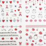 3D gemischten Art Blumen Silber Nagel Aufkleber Aufkleber Valentinstag Design Nageldesign