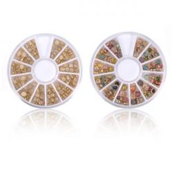 3D Multi-color Pearl Rhinestone Metall Nagelkonst Dekoration Hjul