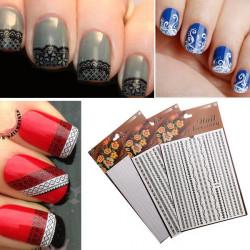 3D White&Black Lace Water Nail Art Transfer Sticker DIY Nial Tips