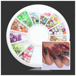 3mm Fluorescence Color Round Metal Stud DIY Nail Art Decoration Wheel