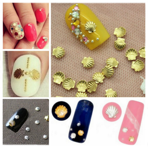 3mm Sliver Gold Shell Shape 3D Nail Art Decoration Nail Art