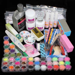 42 Acrylpuderpinsel Glitzer Clipper Akten Nagel Set