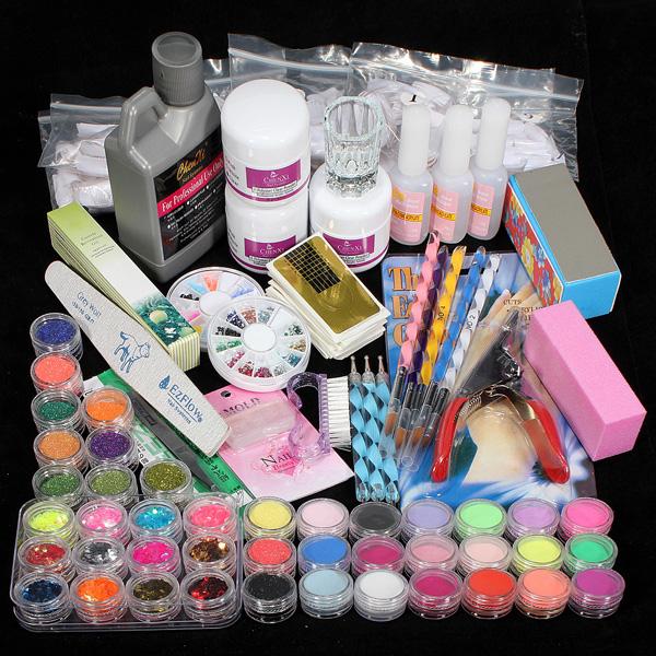 42 Acrylic Powder Brush Glitter Clipper File Nail Set Nail Art