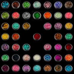 45 Färg Nagelkonst Glliter Dekoration Pulver Crush Shell Pärlor