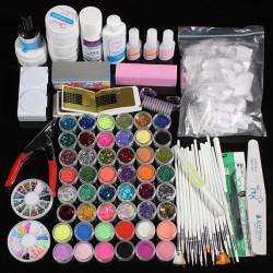 48 Akryl Blänker Pulver UV Primer Builder Cleaner Nail Vid Kit Set