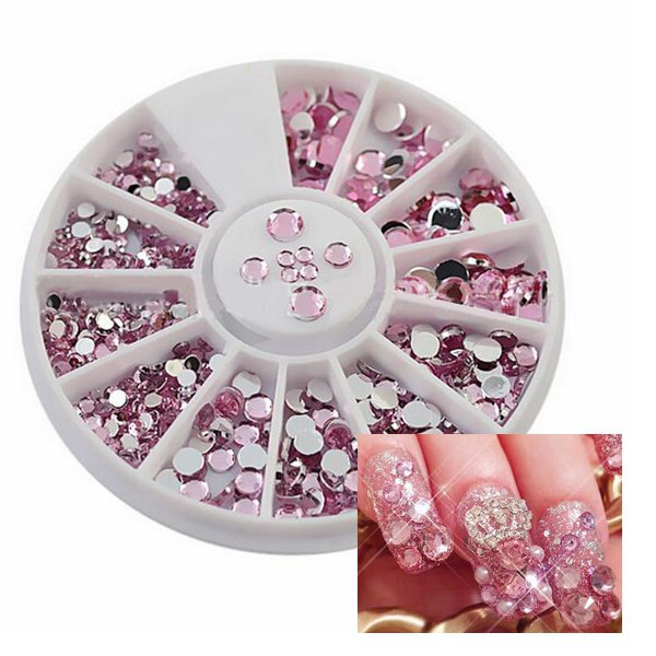 4 Sizes Pink Acrylic Shiny Rhinestone Nail Art Decoration Wheel Nail Art