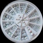 4 Sizes White Multicolor Acrylic Rhinestone Nail Decoration Wheel Nail Art
