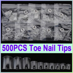 500stk Clear Fransk Falsk Akryl UV Gel 3D Nail Art Tå Tipper Negle