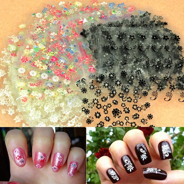 50 Sheet 3D Mixed Styles Flower Design Tip Decal Nail Art Stickers Nail Art