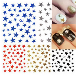 5 Colors 3D Glitter Stars Nail Art Stickers Decoration