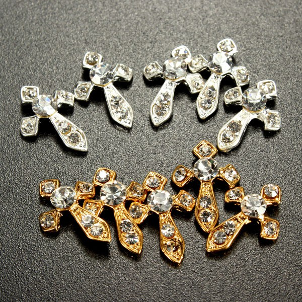 5st Alloy Crystal Rhinestone Cross Nagelkonst DIY Dekoration Naglar