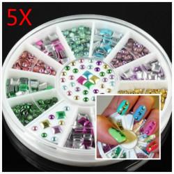 5Pcs Mini Cute Square Round Stud Nail Art Decoration Wheel