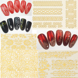 5X Gyldne DIY Nail Art Lace Flowers Vand Transfers Decal Sticker