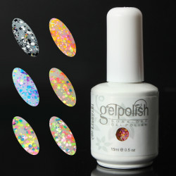 6 Colors 15ml Soak Off Glitter UV Gel Polish