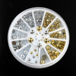 6 Størrelser Silver Guld Metal Rund Studs Nail Art Dekoration Hjul