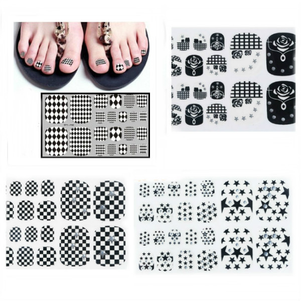 6 Style Fod Tå Sticker Nail Art Decal Dekoration Negle