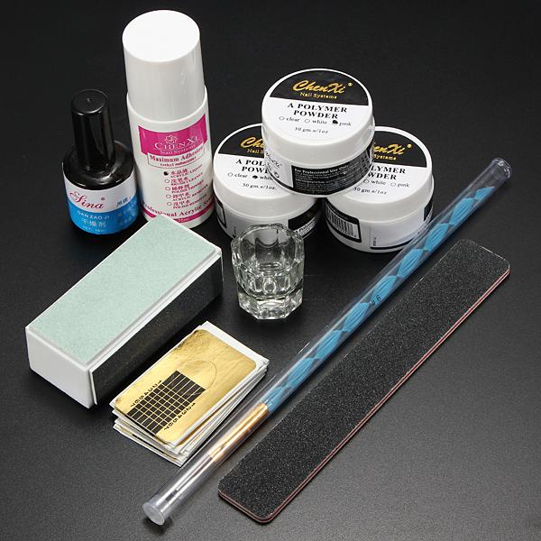 Acrylic Powder Primer Brush Pen Dish Forms Buffer File Nail Art Set Nail Art