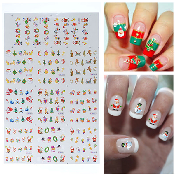 BLE Christmas Snowman Santa Nail Art Water Transfer Decal Sticker Nail Art