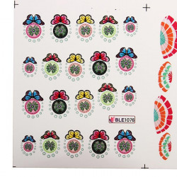 BLE Colorful Butterfly Flower Water Transfer Nail Art Stickers