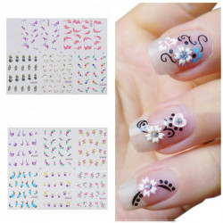 BLE Blomst Nail Art Vand Transfer Decal Sticker
