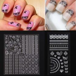 Sort Hvid Klæbemiddel Lace Blomst Design Nail Art Mærkat Decal