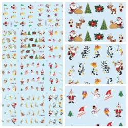 Christmas Santa Snowman Nagelkonst Klistermärke Vatten Överföring Dekaler