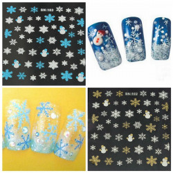 Christmas Snowflake Snowman Nail Art Stickers Decals