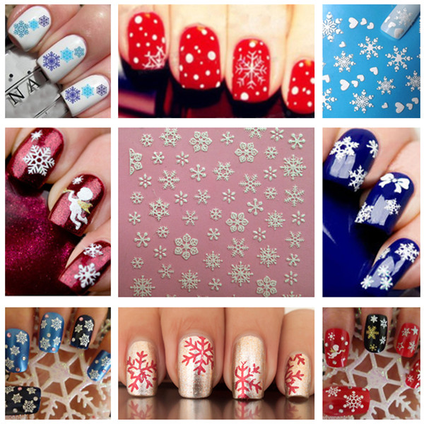Christmas Snowflakes Snowmen 3D Nail Art Sticker Decal Decorations Nail Art