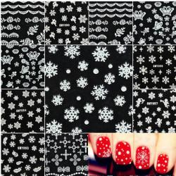 Weihnachten Schneeflocken Schneemann Nagel Kunst Aufkleber Abziehbilder