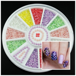 Colorful Semi-circle Bead Acrylic Nail Art Decoration Wheel