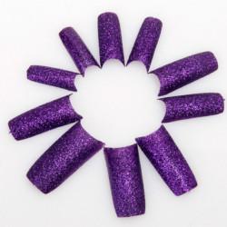 Mörklila Akryl Glitter Franska Falska 3D Nagelkonst Tippar