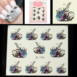 Flower Leaves Pattern Classic Water Transfer Nail Art Sticker Decal