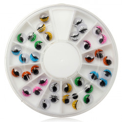 Funny Wiggly Wobbly Rolling Eyes 3D Nail Art Decoration Wheel