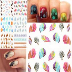 Glitter Leopard Påfugl Fjer Nail Art Stickers Kat Negle Decals