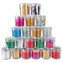 Glitter Shiny Metallic Nagelkonst Transfer Folie Klistermärke Roll Dekaler