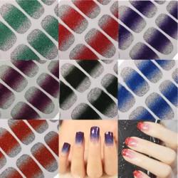 Glitter Skinande Nail Wraps Polish Etiketter Folier Konstdekaler Adhesiv